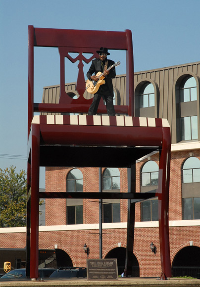 Chuck Brown playing on the Big Chair in Anacostia