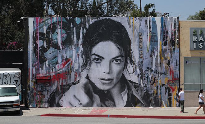 Michael jackson xscape mural on la brea avenue for Jackson 5 mural gary indiana