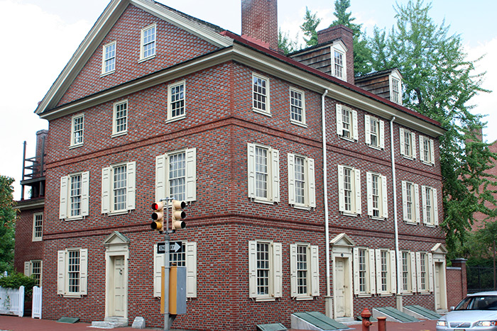 Dolley Todd House at 4th and Walnut Streets was owned by Dolley Madison with her first husband, John Todd Jr. until his death in 1783