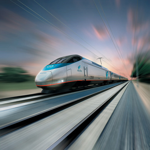 Acela Express zooming down tracks in Connecticut