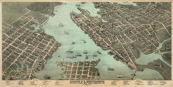 Old Norfolk Map, Virginia Waterways To Freedom