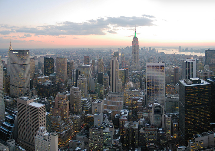 New York City skyline from atop Rockefeller Center; NYC Photos
