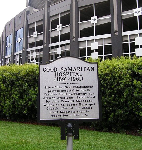 Good Samaritan Hospital marker at Bank of America Stadium
