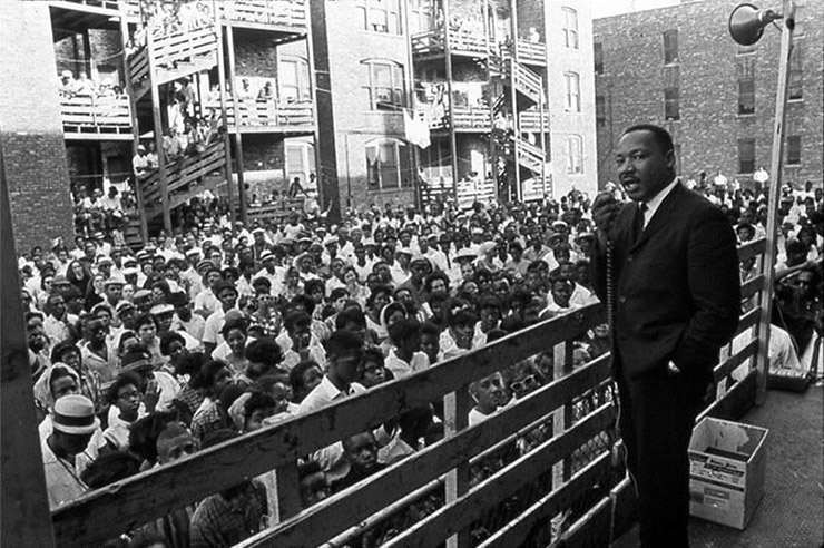 Dr. Martin Luther King hosting a housing rally in Chicago