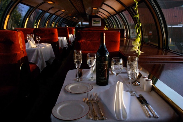 Napa Valley Wine Train dinner table