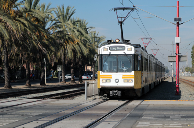 Los Angeles Metro light rail train headed to Long Beach