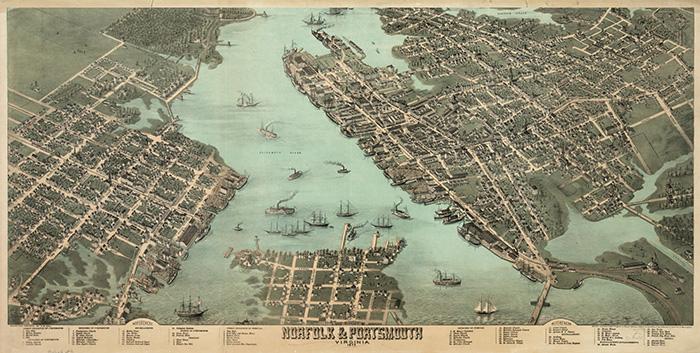 Old Norfolk Map, Virginia Waterways To Freedom