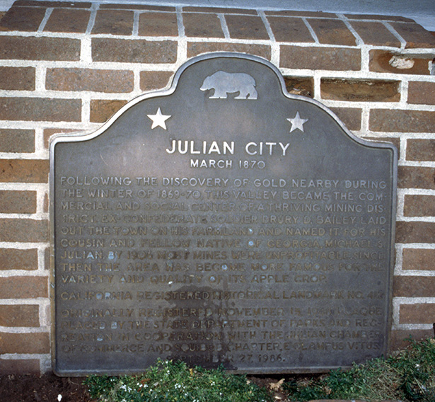 San Diego History, Julian City marker