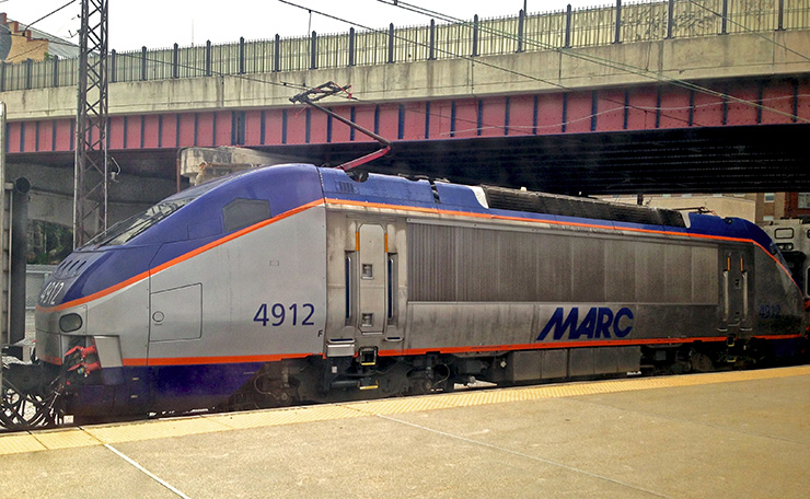 Electric MARC commuter train that runs between Baltimore and Washington