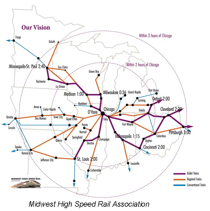 Midwest High Speed Association Map, Interstate High Speed Rail Progress