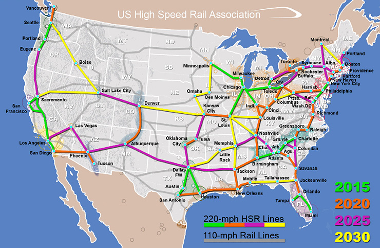 U.S. High Speed Rail Association Map, Interstate High Speed Rail Progress
