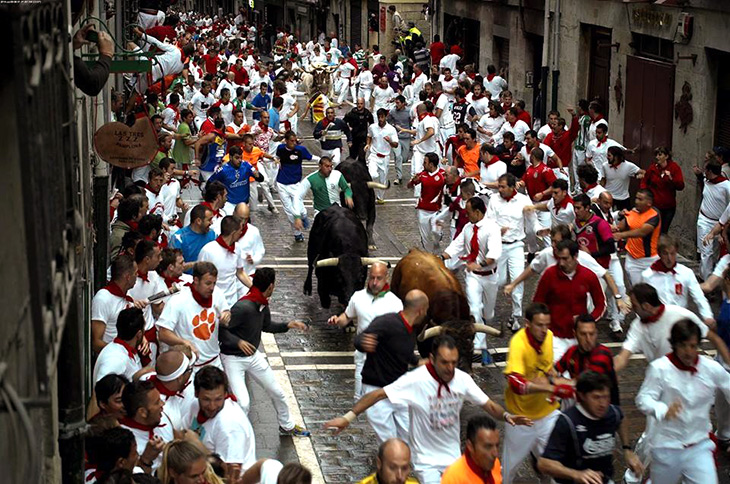 Running from the Bulls, Pamplona; credit Btodag