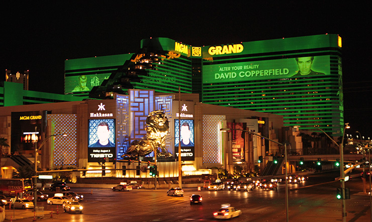 MGM Grand at night, Las Vegas Hotels