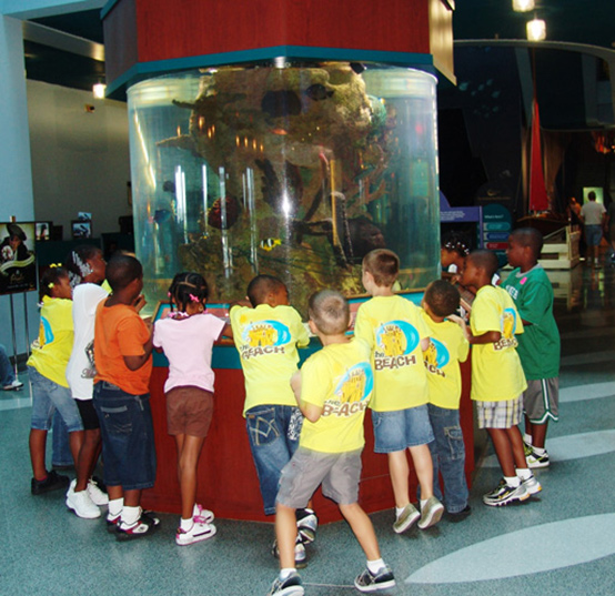 Kids at Wonderful tank in Nautilus, Norfolk Family Attractions