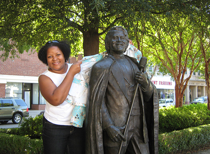Kalin Thomas of SoulOfAmerica at James Brown Monument, Augusta