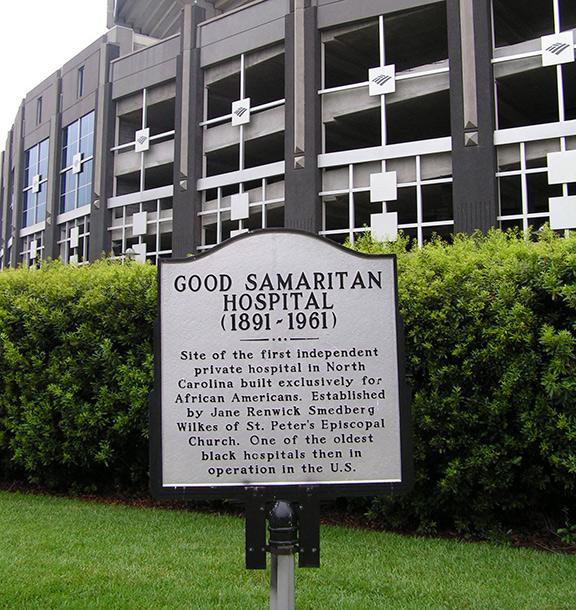 Good Samaritan Hospital marker at Bank of America Stadium