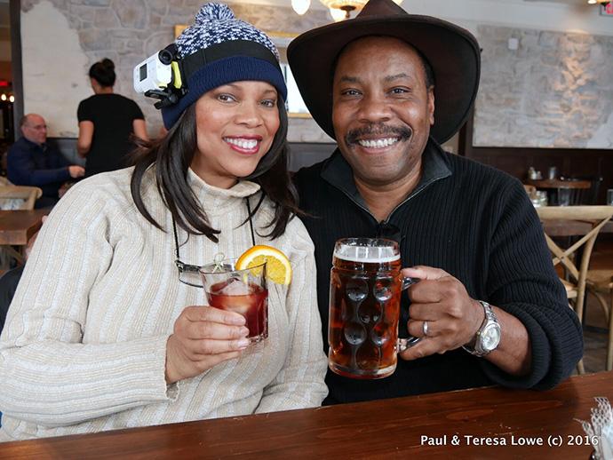 Teresa & Paul Lowe enjoying spirits at the ski lodge, Whistler