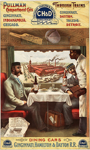 Pullman Porter serving a dining car