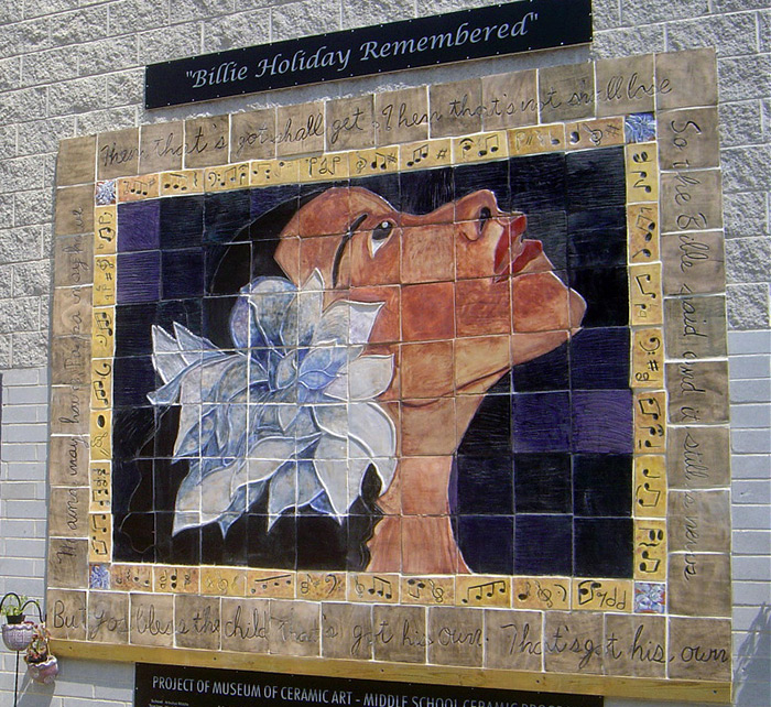 Billie Holiday ceramic mural