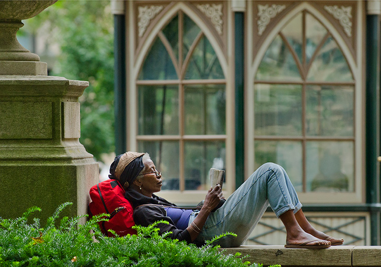 A reader in Rittenhouse Square