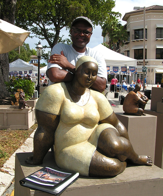 Nnamdi showing his artwork at Las Olas Arts Fair