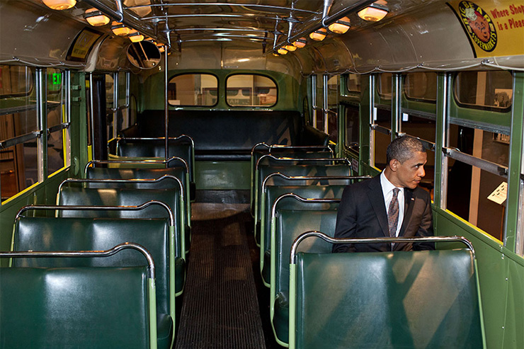 President Obama on Rosa Parks Bus at Henry Ford Museum, Detroit
