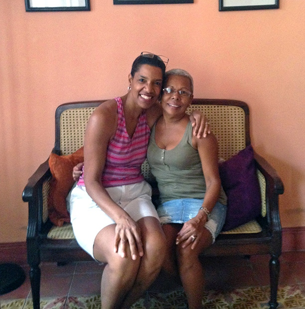 Jeanette Valentine with Airbnb host Amelia