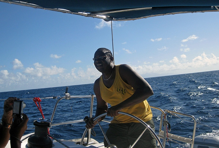 Royston boating in the Caribbean