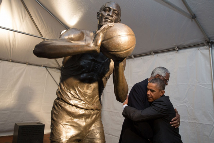 Bill Russell hugged by President Obama, Boston Trivia