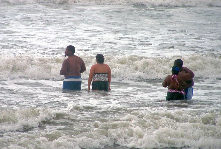 Enjoying the waves at Daytona Beach