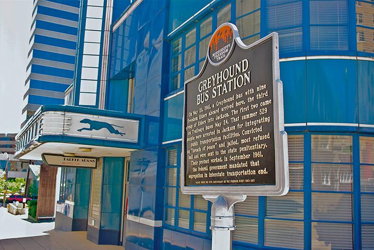Freedom Trail Marker at Jackson Greyhound Station