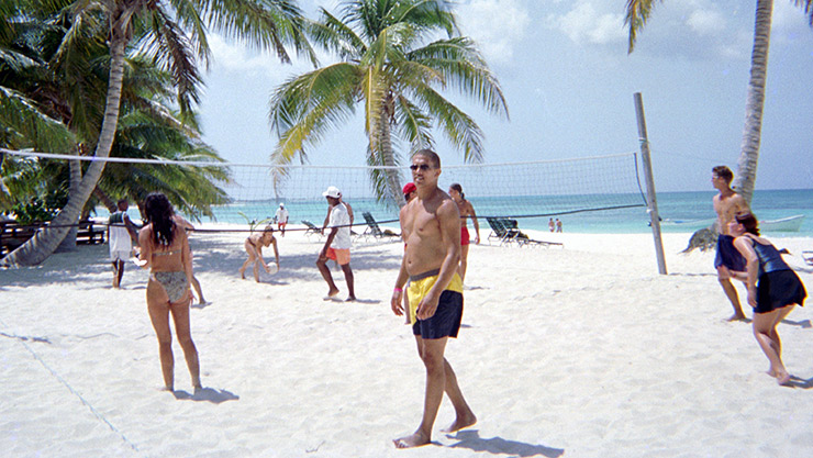 Playing volleyball on the beach, Punta Cana