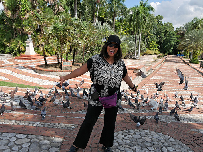 Teresa Lowe enjoying Santo Domingo Botanical Garden