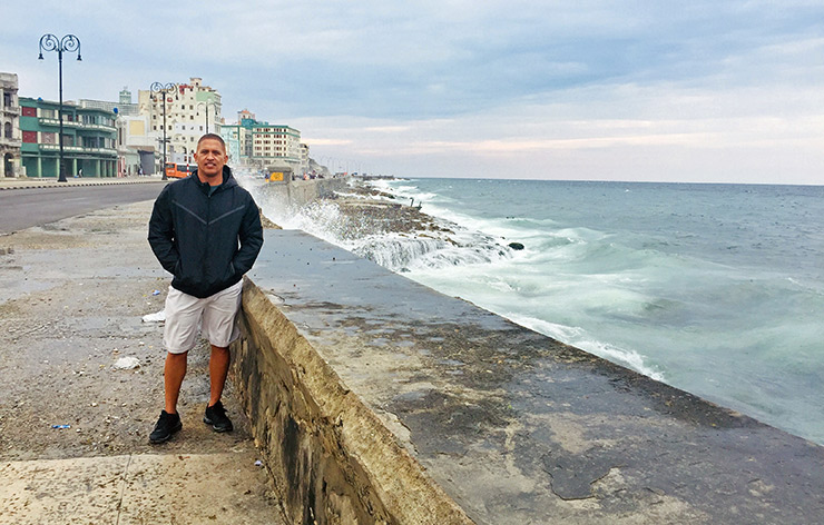 Lenny Dorsey on the Malecon in Havana, Cuba