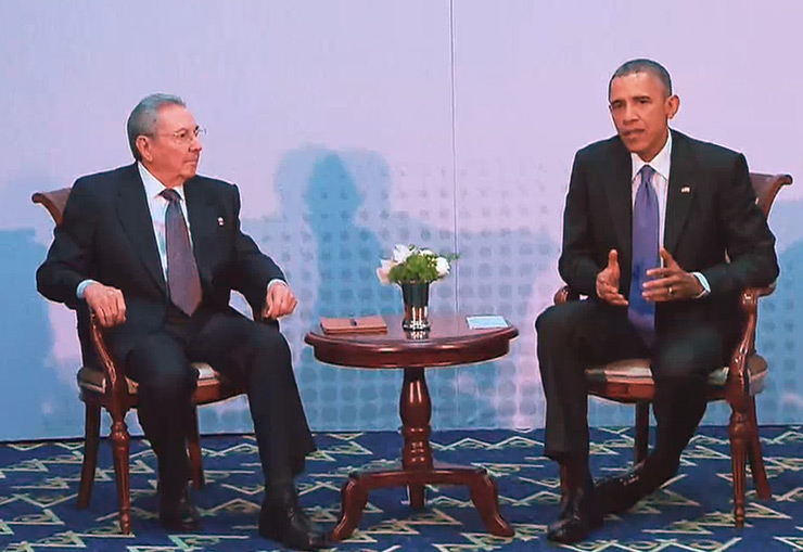 Obama meets Castro