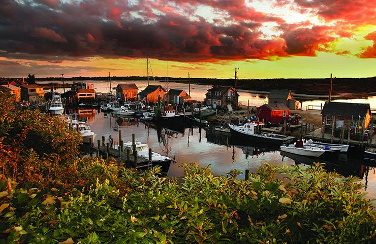 Menemsha seaport at sunset