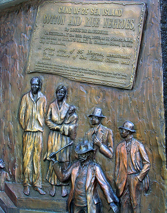 Slave auction relief on African American monument, South Carolina State House