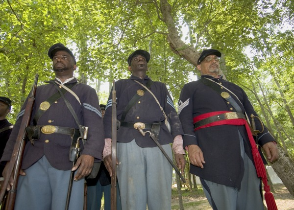 Union soldier re-enactors, Battle of New Market Heights