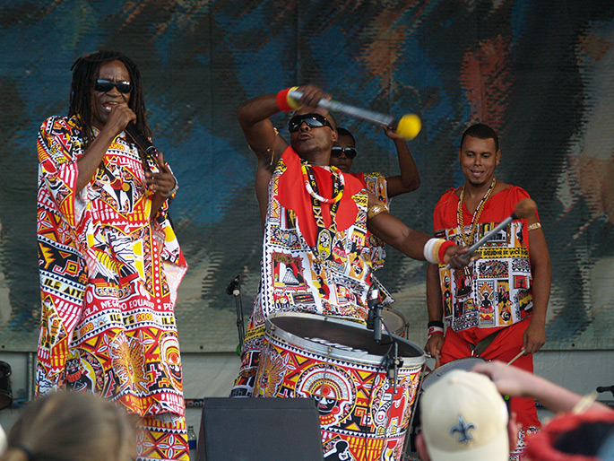 Band performing at New Orleans Jazz & Heritage Festival