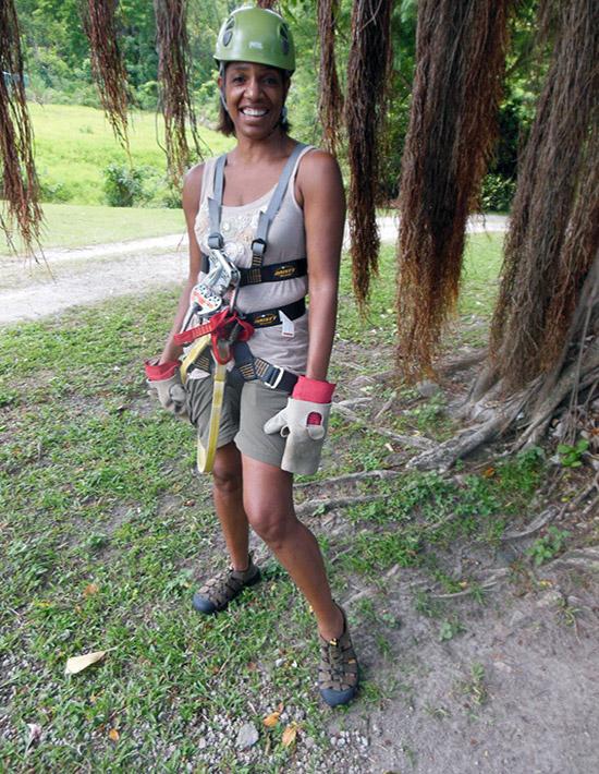Jeanette Valentine ready for zipline