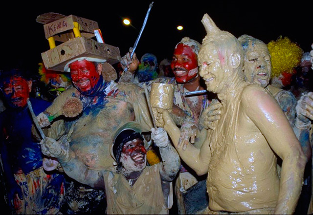 Mud party during Carnival