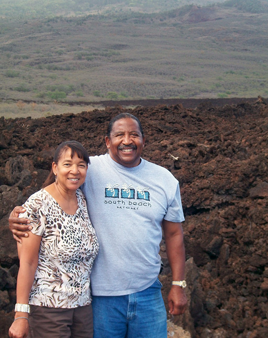 Angela and husband Lovie Smith on Maui