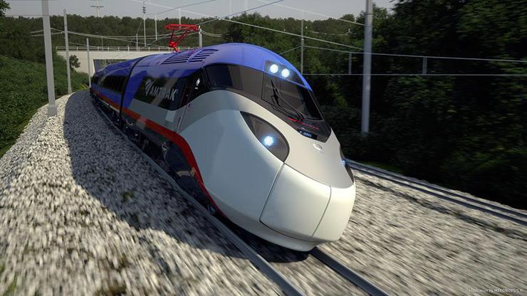 Avelia Liberty train tilting on track; credit Alstom