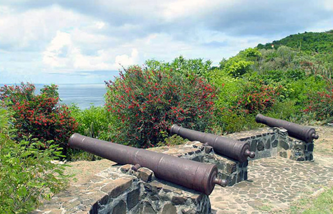 Canons on a fort in Bequia, St. Vincent History