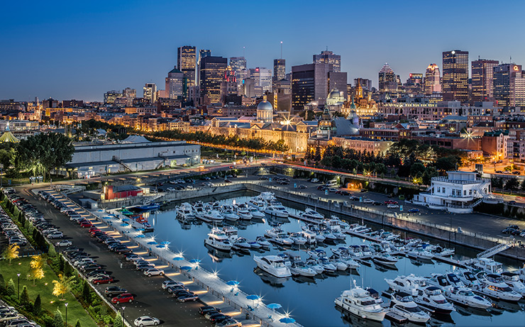 Montreal marina with skyline in the background