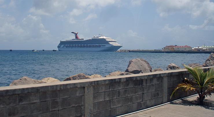 Cruise ship at St. Kitts harbor