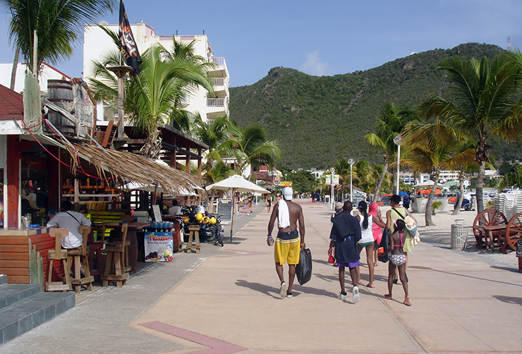Beachfront restaurants in the morning, St. Maarten