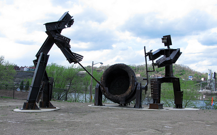 Steelworkers Sculpture in South Side Riverfront Park, Pittsburgh Trivia