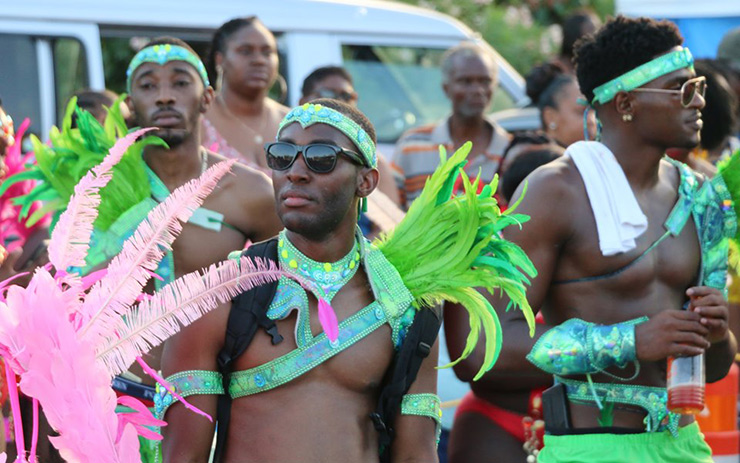 Guys celebrating BVI Emancipation Festival, Tortola