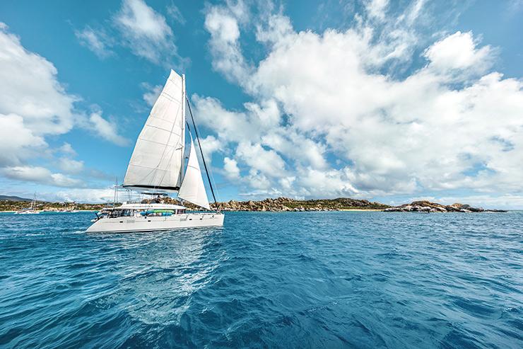 Catamaran sailing off Tortola; credit BVI Tourism Board